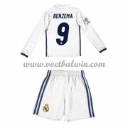 Real Madrid Voetbaltenue Kind 2016-17 Benzema 9 Thuisshirt Lange Mouw..
