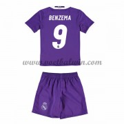 Real Madrid Voetbaltenue Kind 2016-17 Benzema 9 Uitshirt..