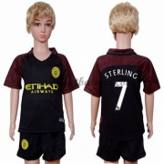 Manchester City Voetbaltenue Kind 2016-17 Sterling 7 Uitshirt..