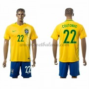 Goedkope Voetbalshirts Brazilië Elftal 2016 Philippe Coutinho 22 Thuis Tenue..