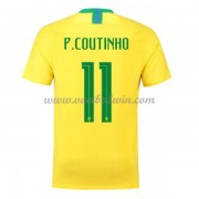 Goedkope Voetbalshirts Brazilië Elftal 2018 Philippe Coutinho 11 Thuis Tenue..