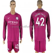 Premier League Voetbalshirts Manchester City 2017-18 Toure Yaya 42 Uitshirt Lange Mouw..