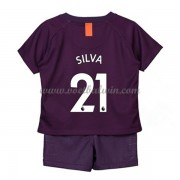 Manchester City Voetbaltenue Kind 2018-19 David Silva 21 Third Shirt..