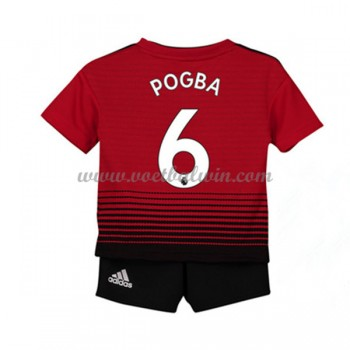 Manchester United Voetbaltenue Kind 2018-19 Paul Pogba 6 Thuisshirt