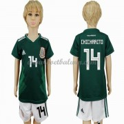 Mexico Elftal Voetbaltenue Kind WK 2018 Chicharito 14 Thuisshirt..