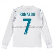 Real Madrid Voetbaltenue Kind 2017-18 Cristiano Ronaldo 7 Thuisshirt Lange Mouw..