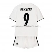 Real Madrid Voetbaltenue Kind 2018-19 Karim Benzema 9 Thuisshirt..