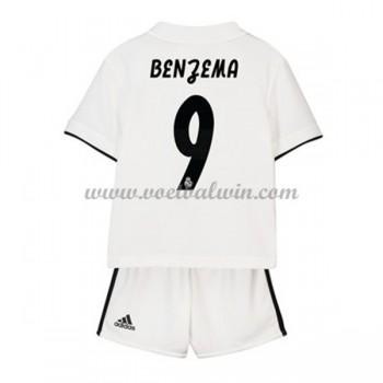 Real Madrid Voetbaltenue Kind 2018-19 Karim Benzema 9 Thuisshirt